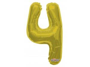 Číslice 4 zlatá malá 35 cm