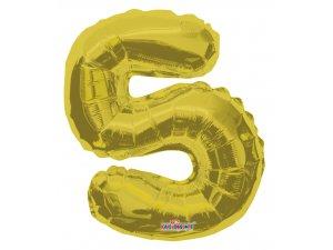 Číslice 5 zlatá malá 35 cm