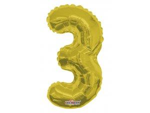 Číslice 3 zlatá malá 35 cm
