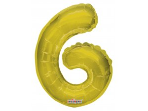 Číslice 6 zlatá malá 35 cm