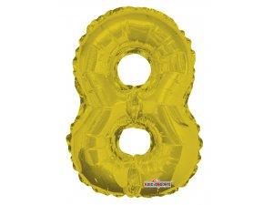 Číslice 8 zlatá malá 35 cm