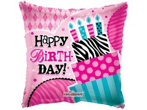 """Balónek polštář - BIRTHDAY růžový 18"""""""
