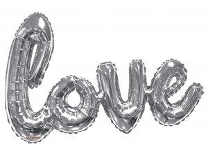 Balónek nápis 91cm LOVE - stříbrný