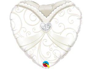 """18"""" balónek srdce - Svatební šaty"""
