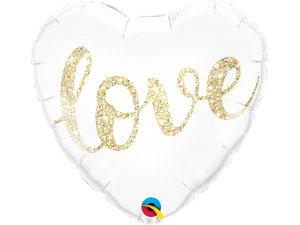 """18"""" fóliový balónek srdce - Třpytivý nápis LOVE zlatý"""