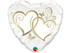 "18"" Fóliový balónek srdce - Zapletená srdce zlatá"