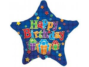 Hvězda 46cm - HAPPY BIRTHDAY modrá