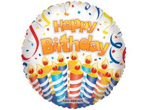 Kruh 46cm - HAPPY BIRTHDAY -  dort a svíčky
