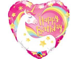 """18"""" fóliový balónek srdce - Kouzelný jednorožec narozeninový"""