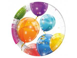 """Talířky papírové ,,Veselé balónky"""" 20cm, 8ks"""