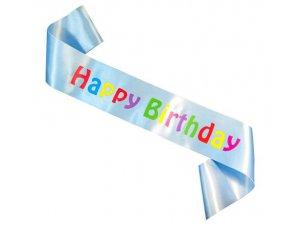 """Šerpa ,,Happy Birthday"""" světle modrá"""