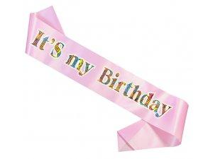 """Šerpa ,,It´s my Birthday"""" světle růžová"""