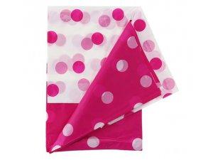 Ubrus plastový s puntíky - růžový