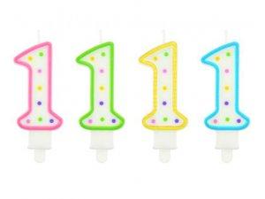 Svíčka dortová číslo 1 s puntíky  6cm