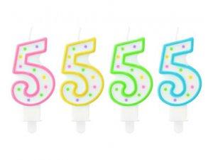 Svíčka dortová číslo 5 s puntíky