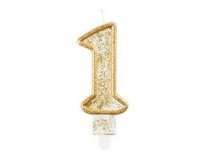 Svíčka dortová číslo 1 zlaté