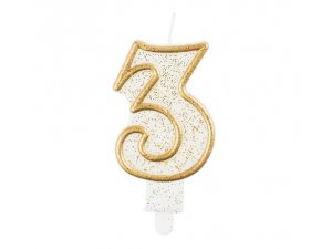 Svíčka dortová číslo 3 zlaté