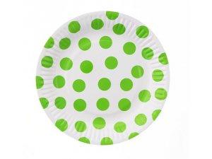 """Talířky papírové ,,puntík"""" zelené 18cm, 6ks"""