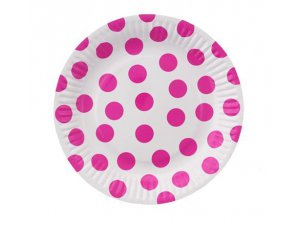 """Talířky papírové ,,puntík"""" tm. růžové 18cm, 6ks"""