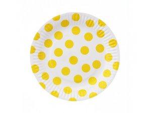 """Talířky papírové ,,puntík"""" žluté 18cm, 6ks"""