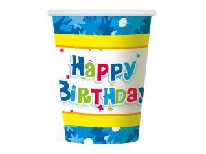"""Kelímky papírové ,,Happy Birthday"""" modrý 6ks"""