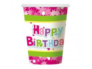 """Kelímek papírový ,,Happy Birthday"""" růžový 6ks"""