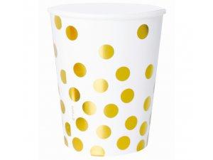 "Kelímky papírové ,,Zlaté konfety"" bílý 6ks"