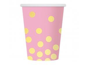 "Kelímky papírové ,,Zlaté konfety"" růžový 6ks"