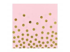 """Ubrousky papírové růžové ,,Zlaté konfety"""" 12 ks"""