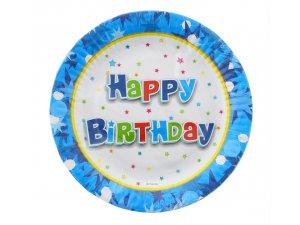 "Talířky papírové ,,Happy Birthday"" modré 18cm, 6ks"
