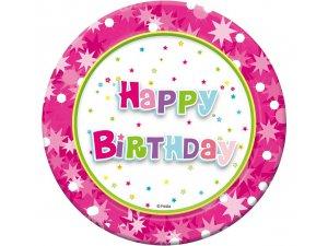 """Talířky papírové ,,Happy Birthday"""" růžové 18cm, 6ks"""