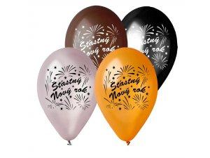 Balónek metalický 28 cm potisk ŠŤASTNÝ NOVÝ ROK (100ks/bal)
