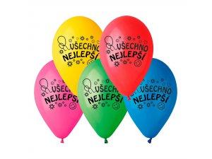 """Balónek potisk Všechno nejlepší (26cm/10"""") pastel (100ks/bal)"""