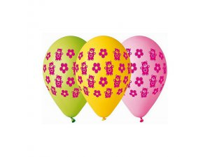 OB balónky GS110 MEDVÍDEK SE SRDÍČKY  (5ks)