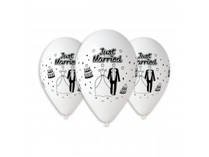 OB balónky GS110 SVATBA BÍLÁ (5ks)