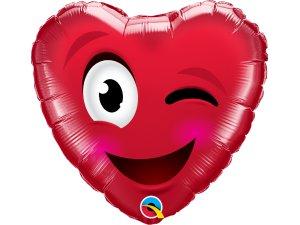 """18"""" fóliový balónek - Smajlíkové srdce"""