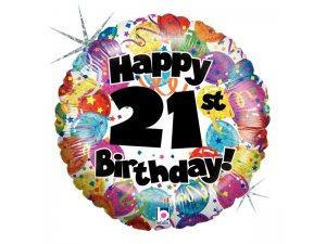 "18"" Kulatý 21th HAPPY BIRTHDAY Holographic"