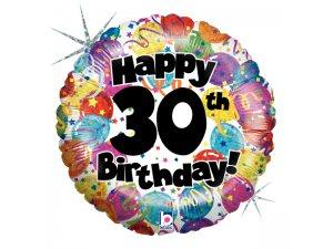 "18"" Kulatý 30th HAPPY BIRTHDAY Holographic"