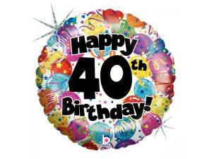 "18"" Kulatý 40th HAPPY BIRTHDAY Holographic"