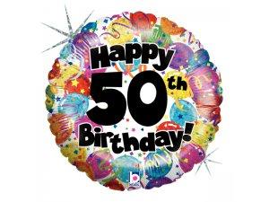 "18"" Kulatý 50th HAPPY BIRTHDAY Holographic"