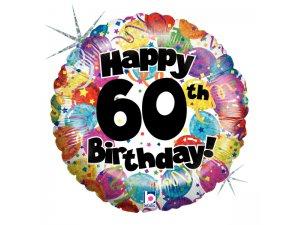 "18"" Kulatý 60th HAPPY BIRTHDAY Holographic"