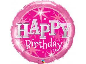 "36"" Fóliový balónek kruh narozeniny růžové"