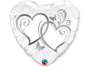 """18"""" fóliový balónek srdce - Zapletená srdce stříbrná"""