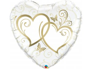 "36"" Fóliový balónek srdce - Zapletená srdce zlatá"