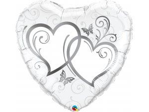"""36"""" Fóliový balónek srdce - Zapletená srdce stříbrná"""