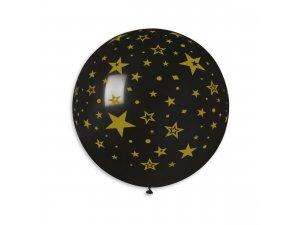 """Balónek 80cm/31"""" #014 ČERNÝ POTISK HVĚZDY"""