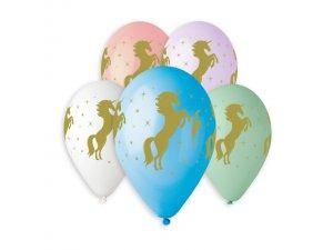 Balónek pastel 30 cm JEDNOROŽEC zlartý potisk (100ks/bal)
