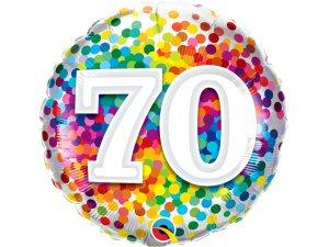 """18"""" fóliový balónek - barevné konfety 70"""