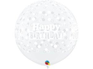 3FT transparentní - Happy birthday - bílé puntíky