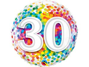 """18"""" fóliový balónek - barevné konfety 30"""